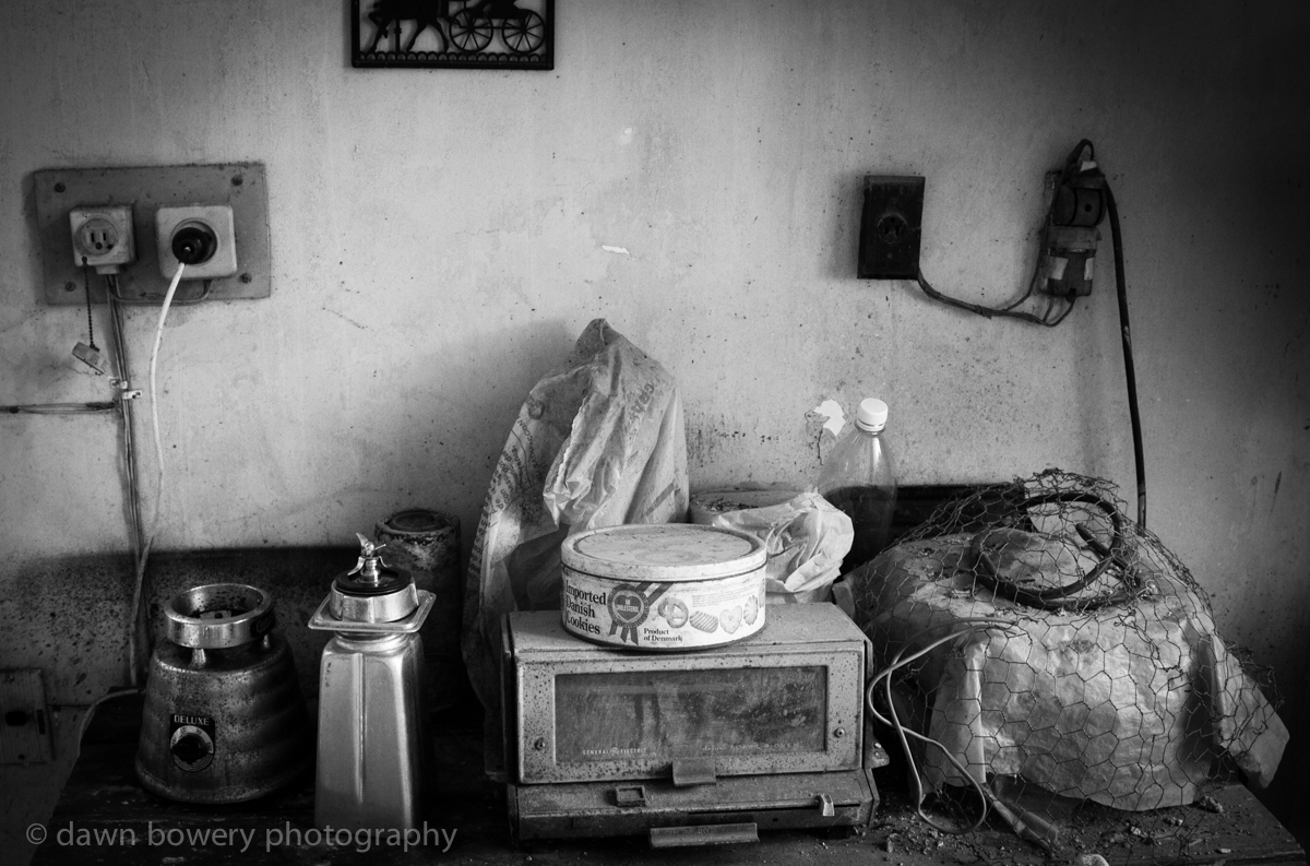 black and white old kitchen still life photograph